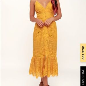 Yellow lace midi dress, from Lulu's. *Brand New*